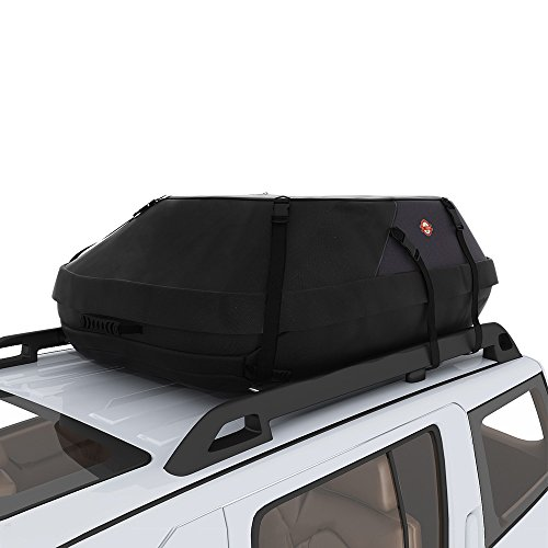 COOCHEER 15 Cubic Feet Waterproof Car Top Carrier- Roof Cargo Bag Box Easy to Install Soft Rooftop Luggage Carriers with Wide Straps, Best for Traveling, Cars, Vans, SUVs