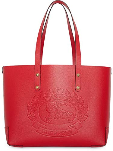 Burberry Red Rust Gold Small Tote Embossed Crest Handbag Bag