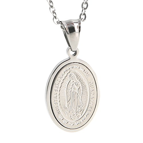 HZMAN Virgin Mary Maria Oval Medal Pendant Stainless Steel Necklace for Men Women