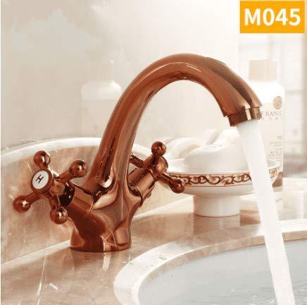 B Diongrdk Hot and Cold Faucet Copper European Antique Faucet Bathroom golden Wash Basin Faucet Double Single Hole Faucet,D
