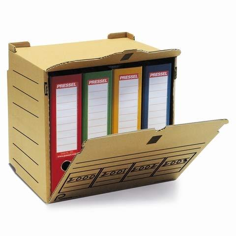 Pressel Archivbox, XL, fü r 4 Ordner, Klettverschl, A4, 36x31x34cm, natur