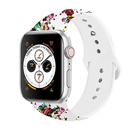 (Sporty Band Compatible with Apple Watch 38mm 40mm 42mm 44mm, Soft Silicone Sporty Replacement Wrist Strap Band for iWatch Series 4/3/2/1 (Flower White/Red 42MM/44MM M/L))