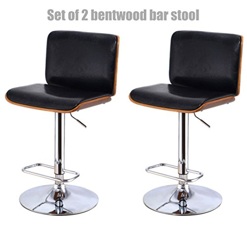 Contemporary Bentwood Bar Stool Pneumatic Adjustable Height 360 Degree Swivel Durable PU Leather Upholstery Seat Stable Chrome Steel Frame - Set of 2 #1095 by Koonlert@shop