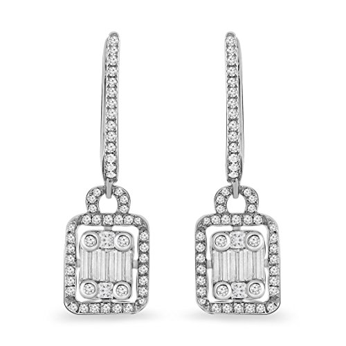 10K White Gold 0.62 Ct.Princess, Baguette & Round Cut Real White Diamond Drop Dangle Earrings for (Baguette Cut Diamond Earrings)