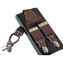 Panegy Men's Leather Clip-on Suspenders 4 Clips Elastic Y-Shape Adjustable Braces - Brown