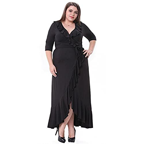 Sapphyra Womens Elegant Solid Black Half Sleeve Ruffled Flounce Hem Maxi Dress,Black 1X Plus
