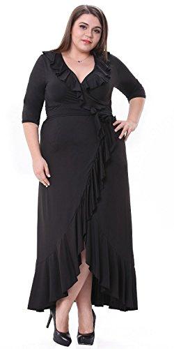Sapphyra Women's Elegant Solid Black Half Sleeve Ruffled Flounce Hem Maxi Dress