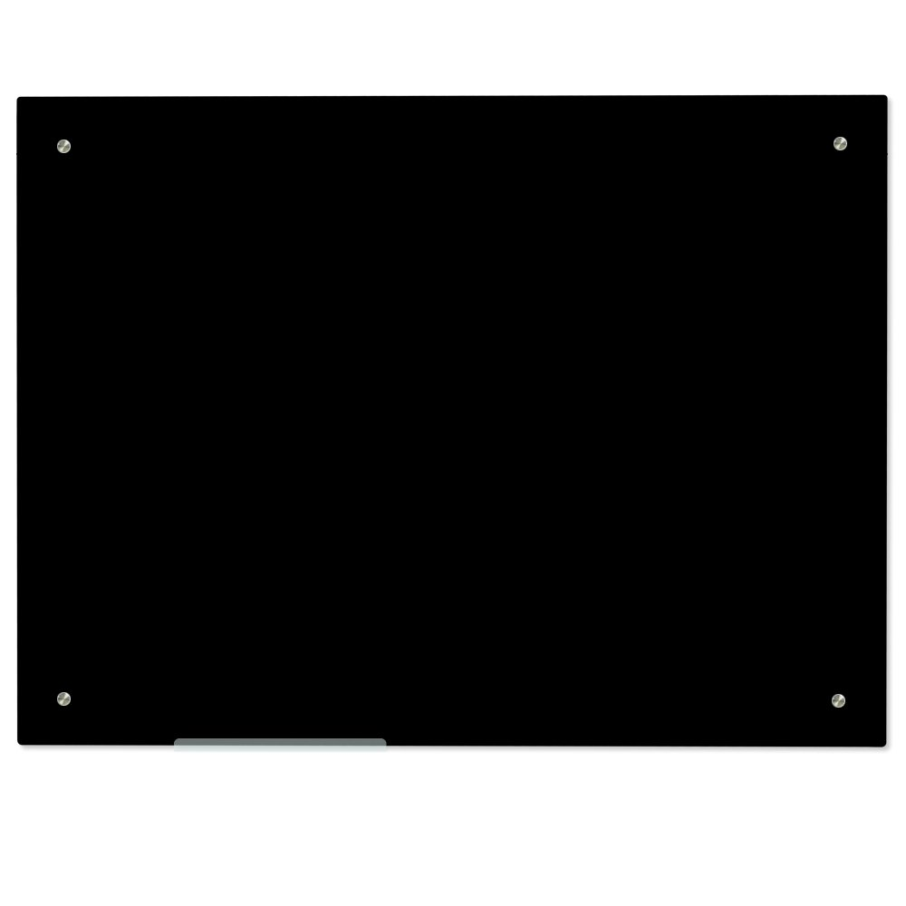 Lockways Magnetic Glass Dry Erase Board – Magnetic Black Board/Blackboard 36 x 24, Black Glass Board, Frameless, Magnets,Clear Marker Tray, for Office, Home, School