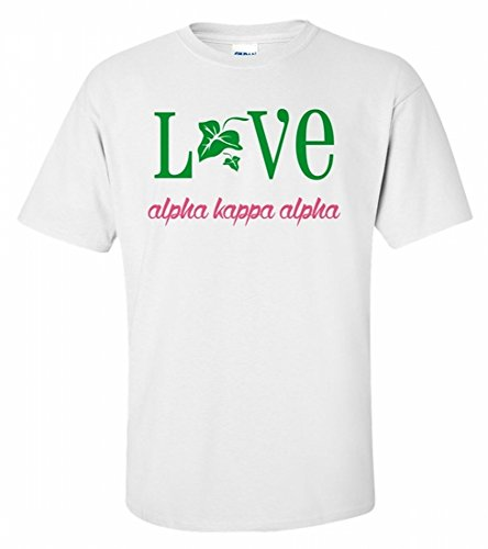Women's Alpha Kappa Alpha Sorority Love Mascot T-Shirt (White or Grey) Small White