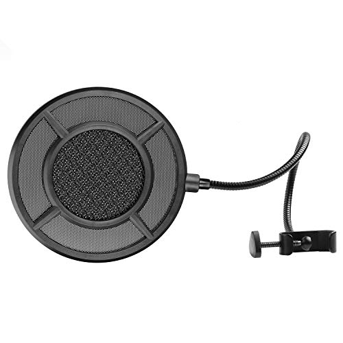 - Mic Pop Filter - Flexible Microphone Wind Screen Studio Double Mesh Screen Pop Filter Windscreen Spray-proof Cover