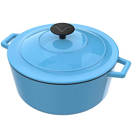 - Vremi Enameled Cast Iron Dutch Oven Pot with Lid - 6 Quart Capacity for Preparing Low and Slow Cooking Meals - Electric Gas Stove Top Compatible Cookware - Deep Large - Blue