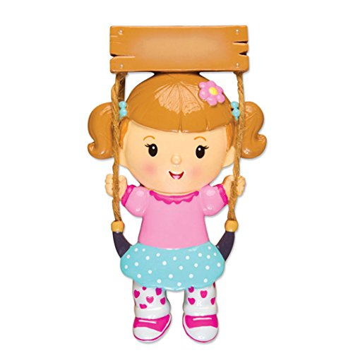 Personalized Girl on Swing Christmas Tree Ornament 2019 - Happy Toddler Baby Wooden Hanging Seat in Playground Child Best Kid Grand-Daughter Lover First Milestone Gift Year - Free Customization