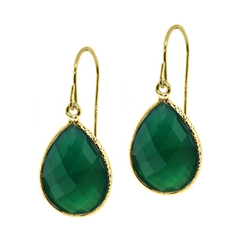 Gem Stone King 13.00 Ct Green Onyx 16x12mm Pear Shape Gold Plated 925 Silver Dangle Earrings ()