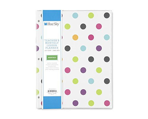 Slim Weekly - Blue Sky 2018-2019 Academic Year Teachers Monthly Lesson Planner, Stapled, Flexible Cover 8.5