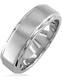 mens wedding band with satin polish 7mm wide in sterling silver