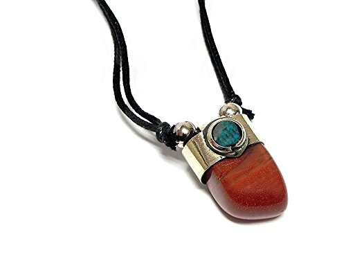 (Mia Jewel Shop Tumbled Healing Gemstone Pendant Round Chrysocolla Stone Adjustable Necklace (Dark Orange Goldstone))