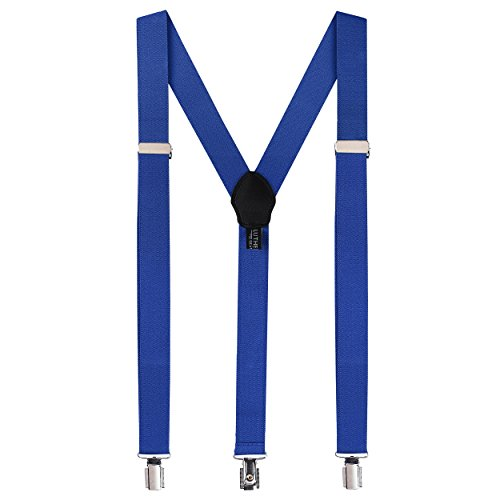 Fashion Accessories Suspenders for Men: Button Pant Braces Clothes Accessory with Elastic, Y Back Design - Regular and Tall Sizes, Royal Blue ()