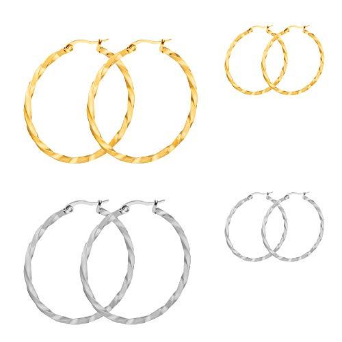 4 Pairs Twist Hoop Earrings Silver 14K Gold Plated Hoop Earrings for Women Girls 2 Color in 2 Size, 30mm, 60mm