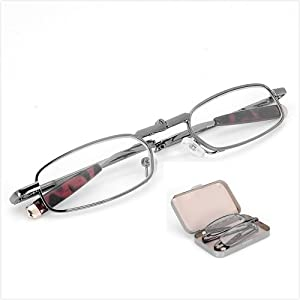 Travel Set Crystal Clear Vision Reading Glasses Folding Anti-fatigue Vision Care Pocket Readers Glasses Silver Full Frame Foldable Presbyopia Eyeglasses Eyewear Spectacles w/ Portable Case +1.50