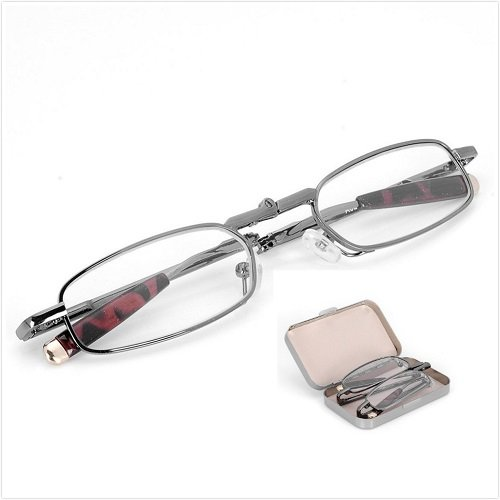 Travel Set Crystal Clear Vision Reading Glasses Folding Anti-fatigue Vision Care Pocket Readers Glasses Silver Full Frame Foldable Presbyopia Eyeglasses Eyewear Spectacles w/ Portable Case - Optical Discount Frames