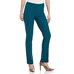Rekucci Women's Ease in to Comfort Straight Leg Pant with Tummy Control (18,Teal)