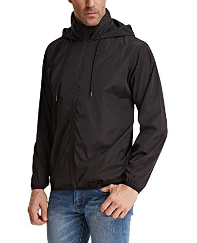 PAUL JONES Men's Packable Waterproof Rain Jacket Lightweight Windbreaker Raincoat