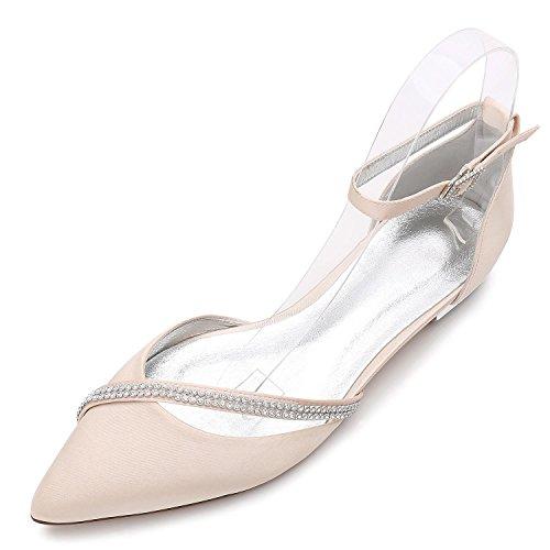 Nupcial Boda Fall de Para Corte Mujer de Artificial Elegant D5047 Zapatos high Zapatos Spring shoes 25 Espumoso Diamante Champagne La qc1wg