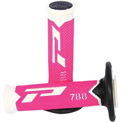 Progrip 788 Pa078800WFXN Progrip Motocross Handlebar Grips-White/Fluorescent Pink/Black