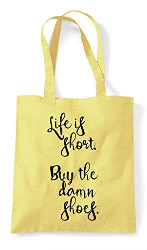 Life Is Statement Shoes Short The Lemon Damn Buy Bag Tote Shopper AFqAg