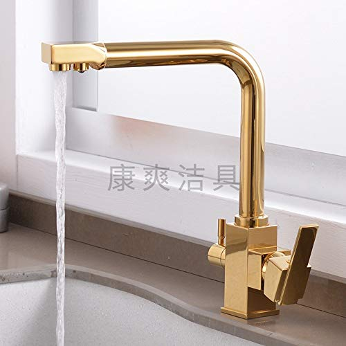 redOOY Taps gold-Plated Square Head Kitchen Faucet Hot And Cold Surface Mounted Wrench Faucet
