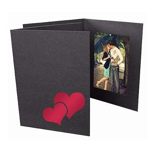 Valentine's DOUBLE HEART Red Foil on Black Cardstock Photo Folder Frame Our price is for 25 units - 4x6