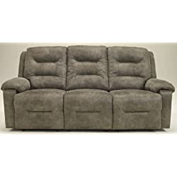 Ashley Furniture Signature Design - Rotation Recliner Sofa - Power Reclining Couch - Smoke Gray Brown