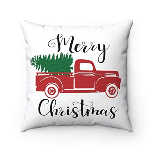 (FabricMCC Christmas Throw Pillow Cover 18 Inch, Christmas Decor, Holiday Pillow Cover, Christmas Truck Cushion Cover Throw Pillowcase for Couch)
