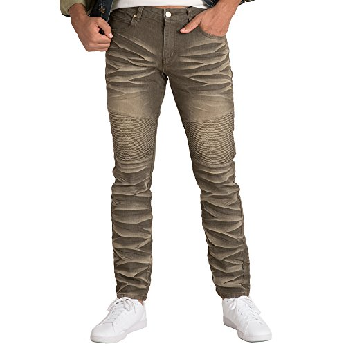Vibes Gold Label Mens Full Crunch Blast Olive Stretch Color Denim 5 Pocket Moto Jeans