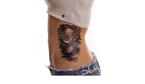 Fliegende búho con reloj - schwares temporäres XL Body Tattoo - hb656, Negro, 1x Fliegende Eule mit Uhr Tattoo: Amazon.es: Hogar