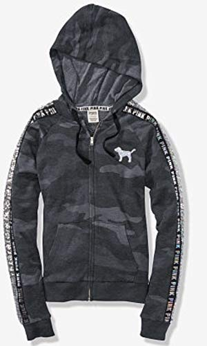 Camo Sparkle (SOLD OUT - VICTORIA SECRET SOLD OUT. SIZE -LARGE. GORGEOUS SILVER BLING SPARKLE BLACK AND LIGHT COLORED CAMO HOODIE JACKET SIZE - SILVER BLING DOG PINK - 100% COTTON)