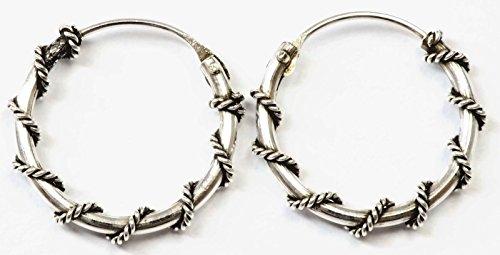 925 Silver Bali Tribal Fashion Earring Hoops Accesssories for Women / Men 9/16