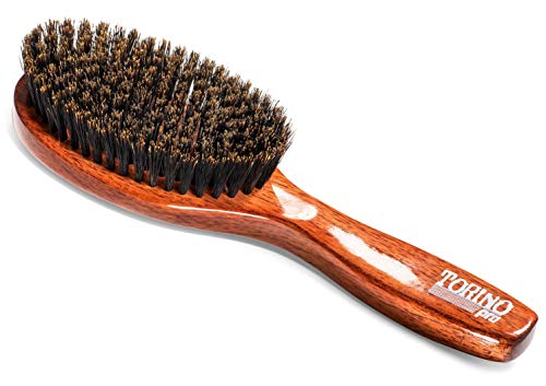 Torino Pro Soft Wave Brush #1140 - By Brush King - Oval Palm/Military with Long Handle 360 Waves Brush