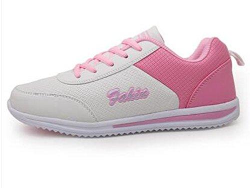 VECJUNIA Ladies Fashion Lace Up Low Top Anti-Skid Flat Sneakers Shoes White t4YKKG0KiB