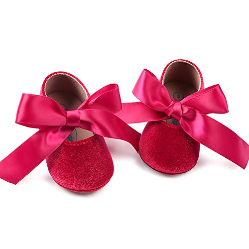 Baby Girls Mary Jane Flats Anti-Slip Rubber Sole Bow Toddler Princess Dress Shoes (5.12 inches (12-18 Months), Y-Wine Red)