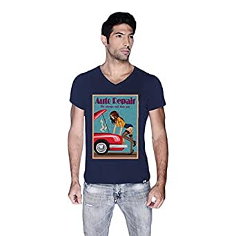 Creo Auto Repair Beach T-Shirt For Men - M, Navy Blue