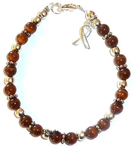 - Cancer Awareness Bracelet, For Showing Support or Fundraising Campaign, Adult Size with Extension, 6mm Cat's Eye Beads. Comes Packaged. (Brown - Anti Tobacco & Colon Rectal Cancer)