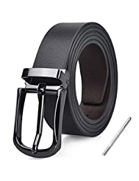 Mens Belt Adjustable Leather Reversible Belts Removable Pin Buckle Casual Business Jeans Belts for Men Brown Black