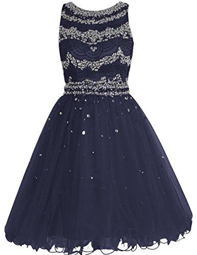 Bbonlinedress Vestido De Fiesta Ceremonia Noche Corto De Tul Con Cuentas Sin Mangas Azul Oscuro