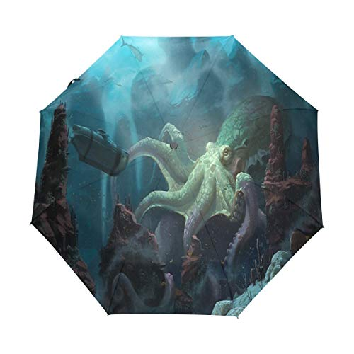 Umbrella Nautilus Wallpaper Golf Travel Sun Rain Windproof Auto umbrellas with UV Protection for Girls Boys Kids ()