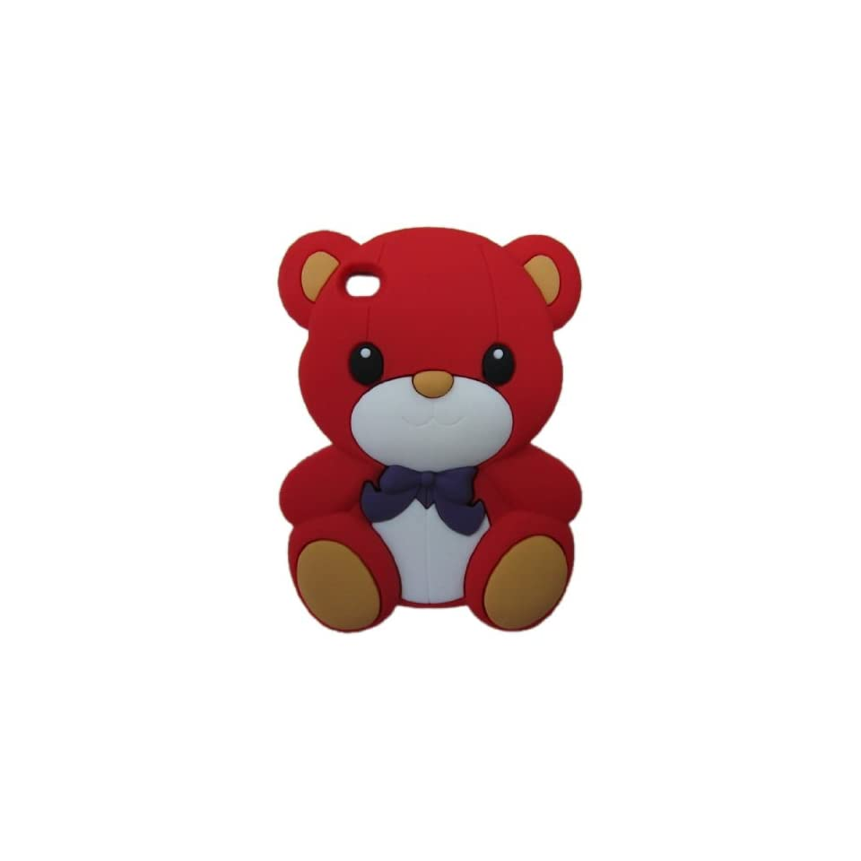 FJX 3D Cartoon Cute Teddy Bear Soft Silicone Skin Case Protective Cover for Apple iPod Touch 4 4G 4th Generation (Red)