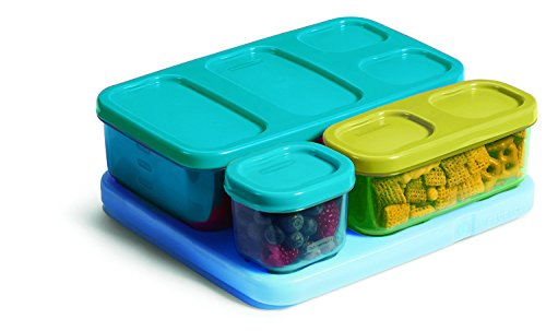 Rubbermaid Kid's Flat Lunch Box Kit, Blue/Green