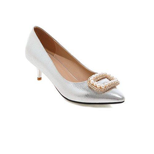 balamasa Mujer Slip-on low-heels Solid Charol pumps-shoes Plateado - plata