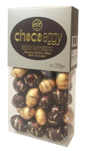 Elit - Chocoeggy, Egg Shaped Hazelnut Praline Filled Milk Chocolate individually Wrapped with Foil - 225gr/7.94oz