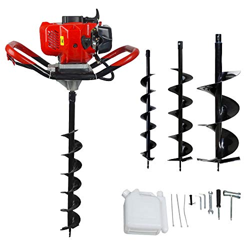 ECO LLC 52cc 2.4HP Gas Powered Post Hole Digger with 3 Earth Auger Drill Bit 4